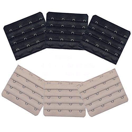 DoHope Ultra weich BH-Verlängerung mit 3 Haken & 4 Haken BH-Erweiterung Set Verschiedenen Farben BH-Trager-Extender 6 Stück (4 Haken 4 Reihen (schwarz, dunkelbeige))