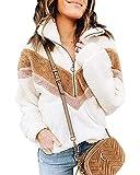 ABINGOO Chaquetas de Puente para Mujer Jersey Otoño Invierno Cremallera de Engrosamiento Al Aire Libre Sudadera de Lana Polar Sudadera Ligera Abrigo Informal,Blanco,S