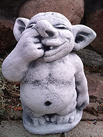 Funny XXL Troll with Finger in nose in Frost-Proof Cast Stone