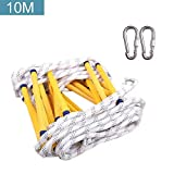 Emergency Fire Escape Ladder, Reusable Flame Resistant Safety Rope Ladder With Hooks
