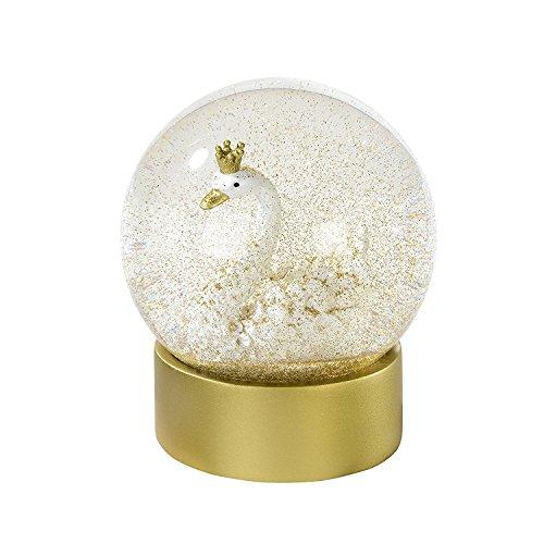 Schnee-Kugel mit märchenhaftem Schwan in weiß & gold - Geschenk-Idee Mädchen/Prinzessin/Deko