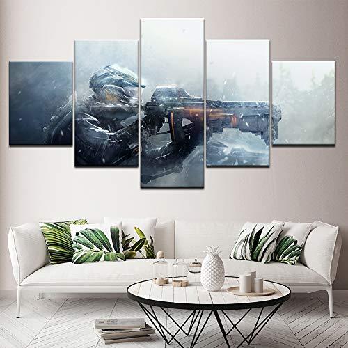 XLST Segeltuch Malerei 5 Stücke Wandkunst Malerei Modular Hintergründe Poster Drucken Gewehr Gaming Wohnkultur Kunstwerk,B,40X60X240X80X240X100X1