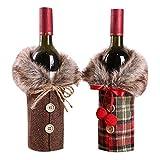 Petalum Weihnachten deko weinrot Weinflasche Flaschenanzug Flaschenüberzug Weihnachtmann Hut Flaschebeutel Flaschetasche Party Restaurant Tischdeko (2PCS, B)