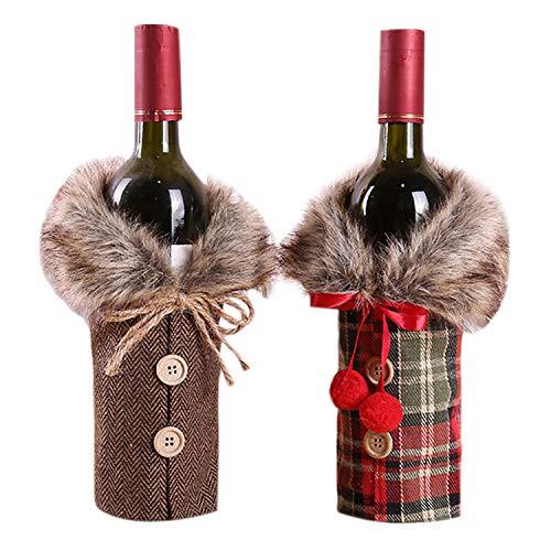 Petalum Weihnachten deko weinrot Weinflasche Flaschenanzug Flaschenüberzug Weihnachtmann -