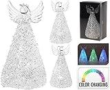 Glas Engel mit LED Beleuchtung - Farbwechsel - 13cm Dekoration Angel Glitzer Weihnachten