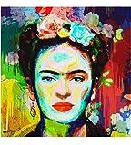 Giallobus - Bild bereits gerahmt - Druck auf Leinwand - Frida - Moderne Bilder für Heimtextilien Haus Design - Wohnzimmer - Verschiedene XXL-Formate - 70 x 70 cm