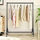 Clothes Drying Rack by House of Quirk Iron Durable Rolling Garment Rack with Tubing,Wardrobe with Portable Wheel