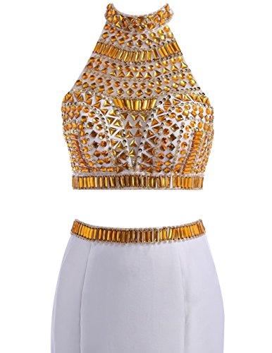 Dresstells, Robe de cérémonie Robe de soirée emperlée forme sirène deux pièces traîne moyenne Blush