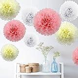 9er Set Seidenpapier PomPoms Papierblume Weiß Beige Hellrosa Hochzeit Party Baby Shower Dekoration Deko - 25cm&35cm