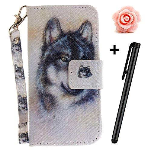 iPhone 6s Plus 5,5Zoll Schutzhülle,iPhone 6 Plus Leder Hülle,TOYYM Ultra Dünn Full Body Protection Flip Leder Wallet Brieftasche Case 3 in 1 Handytasche mit Stand Funktion Kartenfächer Magnetverschlus Wolf