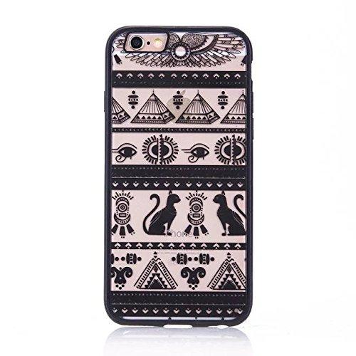 iPhone Case Cover Ägypten Pyramiden Totem Printed Design Schütz PC harte rückseitige Abdeckung Case + TPU Bumper für iPhone SE 5S 6 6S plus ( Color : Pink , Size : IPhone 6 6S ) Black