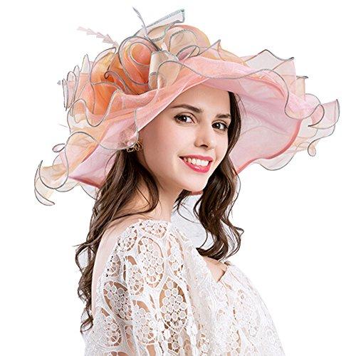 Amorar Elegante Vintage Gaze Kentucky Derby Sonnenhut Blume breiter Krempe Gaze Strand UV schützen Hüte für Damen Damen (Kentucky Derby-hüte Damen)