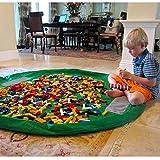 BigNoseDeer Children Play Mat bebé Plegable Bolsa de Almacenamiento de Juguetes de los niños del Juguete del niño Alfombra Organizador de 60 Pulgadas (150 cm) (Verde)