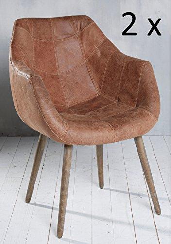 2x-Armlehnenstuhl-Stuhl-Leder-Braun-mit-Holzbeinen-Esszimmerstuhl-Echtleder-Esszimmersessel-Designstuhl-Loungesessel-Sessel-Retro-Look