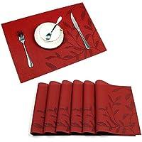 Set de table, Lot de 6 sets de table tressé en PVC antidérapant lavable protection la table, set de table rouge
