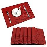 Tischsets, U'Artlines Exquisite Cute Blätter Pattern Tischsets für Esszimmer Tisch Wärmedämmung Fleck-resistent Gewebe Vinyl Küche Tischset Set von 6