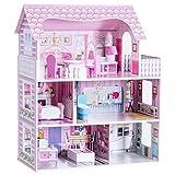 COSTWAY Maison de Poupéeen Bois Jeu d'Imitation de Meuble pour Enfants 3 Etages et 5 Pièces avec Accessoires 61 x 26.5 x 71 cm Rose