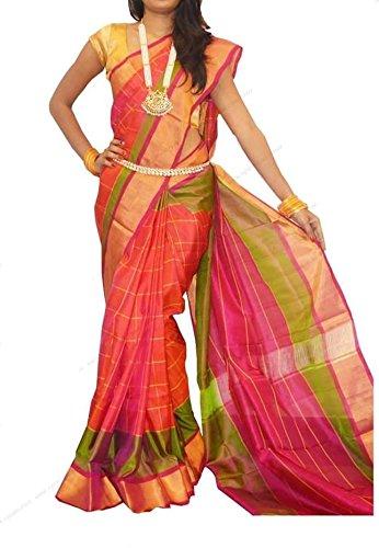 B & B Fashion Women's Silk Saree With Blouse Piece(Up0001_Orange And Green_Free...