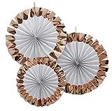 3 Stück Deko Fächer in Weiß & Roségold - 2x 36cm Durchmesser & 1x 28cm Durchmesser
