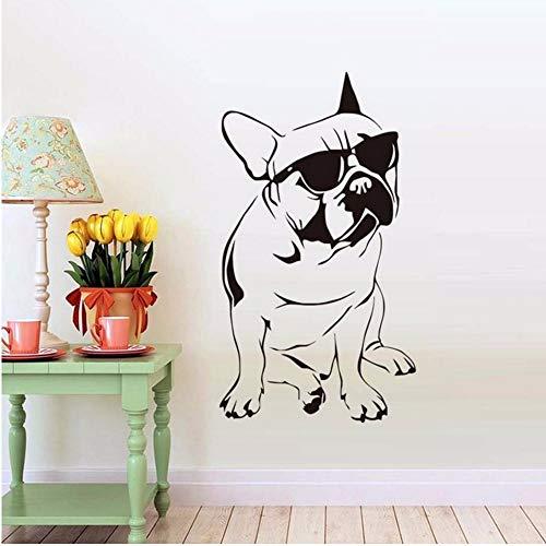 Txyang Hübsche Französische Bulldogge Mit Sonnenbrille Wandaufkleber Für Jungen Schlafzimmer Vinyl Tier Wandtattoo Kinder Dekoration A 43 * 77.Cm