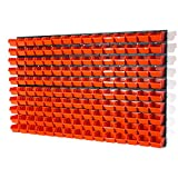 150 Stapelboxen Rot mit wandregal 120 x 80 cm   boxen lager wandplatten wandpaneel werkstatt garage