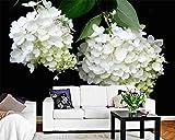 Hyzljo 3D Papier Peint Blanc Hortensia Jardin Vent Tv Fond Mur Salon Chambre Toile De Fond Murs Peintures Murales-250x175cm