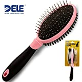 Dog Brush, Ball Point Pin and Bristle Brush by DELE Double Sided Pet Grooming Comb for Sensitive Skin Dogs and Cats with Short Medium Long Hair