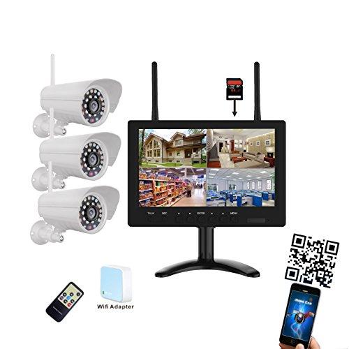 9-pulgadas-720p-HD-Wifi--Juego-de-videovigilancia-Tiempo-real-3-x-Cmaras-de-visin-nocturna-4-de-canal-Max-128-GB-Tarjeta-SD-LED-TFT