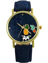 Lancardo Reloj Analógico de Cuarzo Correa de Cuero de Textura de Vaquero Dial con Dibujos de Piña/Cactus/Perrito Impermeable Casual para Hombre/Mujer/Pareja (Azul Oscuro)