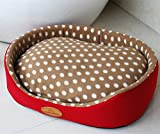 Weare Home Round Washable Dot Pattern Pet Beds for Dogs Warm House with a Removable Cushion Red M