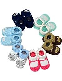 Kezle™newborn baby woolen booties/socks 1 pair [random color and patterns]Size0-3 Months