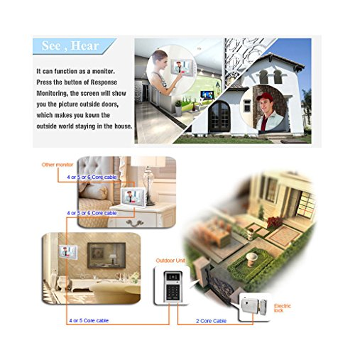 "AMOCAM Video Doorbell Phone, 7"" Video Intercom Doorphone System, Wired Video Door Phone Touch Alloy HD Camera, ID Keyfobs Card/Password Keypad Unlocking Option for Villa House Office Apartment"
