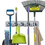 Besen Mop Halter, Trim Bar Wandhalter mit 5 Haken und 6 Schnellspanner, Speicherorganisator für Küche Bad Gartengeräte