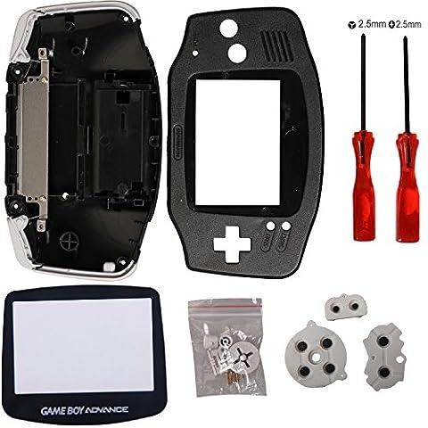 Timorn Pack complet de coques de remplacement de logement pour Nintendo Game Boy Advance (Noir)