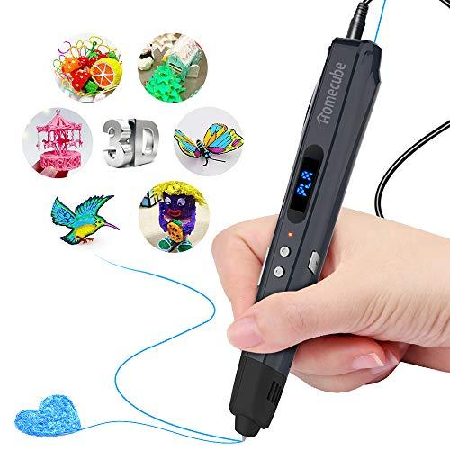 Homecube Penna 3D, Penne per Stampa 3D con Il Cappuccio della Penna silicio, Compatibile PLA/ABS con 3 Ricariche di Filamento Libero 1.75mm,può Essere Addebitato dalla Banca di Potenza (Grigio)
