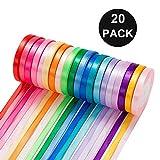 Sunwuun 20 Colore Nastro Raso,10mm Nastri Colorati per Decorazioni,Regalo Confezione Regalo Creazione Artigianale Cucito Confezione Nastro per Capelli.(Totale 456 Metri)