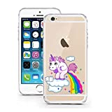 "licaso® iPhone 5S 5 SE 4"" TPU Einhorn Wolke Regenbogen Himmel Hülle Sketch Unicorn Einhörner Case transparent klare Schutzhülle Disney Hülle iphone5 Tasche Cover (iPhone 5 5S SE, Einhorn Wolke)"