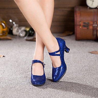 Damen-Tanzschuhe, moderne Paillette, kubanischer Absatz, weitere Farben, blau