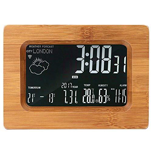 1-1 LCD Hölzern Multifunktion Wecker Vorhersage Station WLAN drahtlos Wetterstation Holzfarbe,Brown