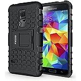 Funda S5 mini,Pegoo El Soporte Incorporado A Prueba de golpes Anti-Arañazos y Polvo Mezcla Doble Capa Armadura Proteccion Cover Case Caso Funda Cáscara Caja para Samsung Galaxy S5 mini (Negro)