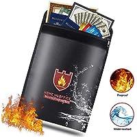 """Le saco sûr resistente al fuego, el saco plateado resistente al agua de fuego sellado protègent el almacenaje de documento para la casa, Plata, certificado de nacimiento, pasaporte.(15 """"x11)"""