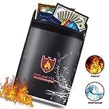 Feuerfeste sichere Tasche, Feuerfeste Dokumententasche, Wasserdichte Dokumententasche, Anti-Reizung beschichtetes Feuer-Wasser-beständiges Geld-Beutel-Dokument-Speicher für Haus, Geld, Bargeld, Geburtsurkunde, Reisepass, LIPO-Batterien und Wertsachen (15