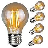 Edison LED Lampe E27 Retro Dimmbar Art Glühbirne AFSEMOS,Glühlampe 4W e27 bulbs 360° Schraube A19 3000K 400lm Warmweiß,220-240V,Eichhörnchen Käfig Wolfram Kugel Glas Antike Lampe (5 PACK)