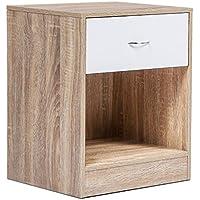 idmarket lot de 2 tables de chevet bois faon htre tiroir blanc
