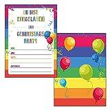 Made by Nami 12er Set Einladungskarten Bunt für Kindergeburtstag - Einladungen für Geburtstag, Kinder Mädchen Jungen Geburtstagseinladungen Din A6 Kartenset (Ohne Umschläge)