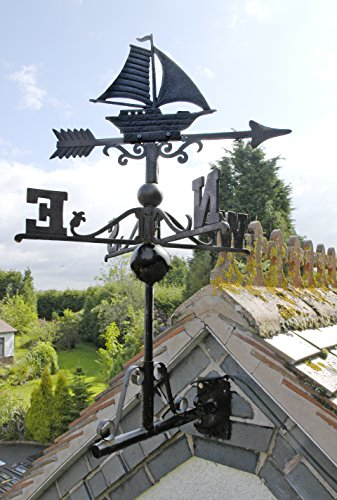 Black Cast Iron Sail Boat Weathervane - INCLUDES FREE INSTALLATION KIT - Various Sizes (Small)