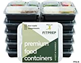 FITPREP Neues Modell 3-Fach Meal Prep Container [10er Pack] | stabil, verstärkt, qualitativ hochwertig | Kompakt, platzsparend und dennoch 1 Liter Volumen | Modell: FP31-N