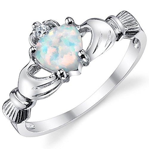 Damen Sterling Silber 925 Claddagh Ring Mit Opal Herz Bequemlichkeit Passen,Größe 57 (Kleine Herzen Ring)
