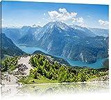 Blick vom Berg über dem Königssee in Bayern, Format: 80x60 auf Leinwand, XXL riesige Bilder fertig gerahmt mit Keilrahmen, Kunstdruck auf Wandbild mit Rahmen, günstiger als Gemälde oder Ölbild, kein Poster oder Plakat