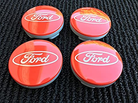 4x Ford 54mm RED Silver Logo Alloy Wheels Hub Centre Caps Fits Most Models Focus Fiesta Mondeo S-MAX B-MAX C-MAX Galaxy Kuga EcoSport KA Transit Connect Tourneo Custom Edge and other Models 6M21-1003AA
